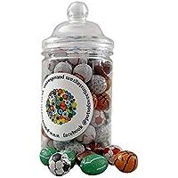 Tarro espiral de 300 g de bolas deportivas de chocolate envueltas individualmente