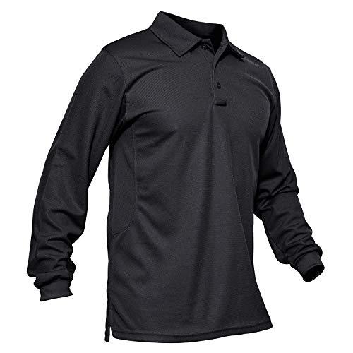KEFITEVD Polo T-Shirt Herren Golf langärmlig Schnell Trocknend Freizeitshirt Polokragen Klassisch Poloshirt Taktisch Sommer Schwarz L (Etikett: XL)