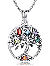 925 Sterling Silver Pendant, Tree of Life Necklace for Women Girls,Cubic Zirconia Necklace Fine Jewellery Gifts for Wife, Mum and Girlfriend