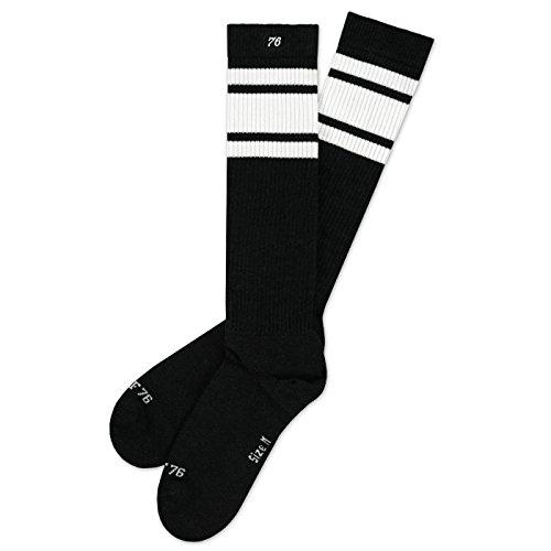 Spirit of 76 Tarmac Hi | Hohe Retro Socken mit Streifen Schwarz, Weiß gestreift | kniehoch | stylische Unisex Kniestrümpfe Größe L (43-46) -