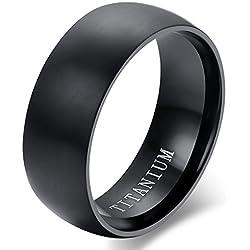 Flongo Anillo de compromiso, Anillo negro titanio, Vintage clásico anillos de hombre, Anillo de boda pedida, Buen regalo para su amor, Talla 17