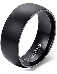 Flongo Anillo de compromiso, Anillo negro titanio, Vintage clásico anillos de hombre, Anillo de boda pedida, Buen regalo para su amor, Talla: 11.5-32
