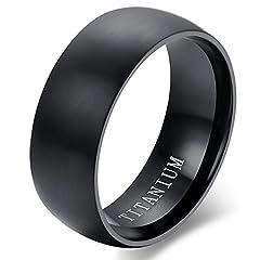 Idea Regalo - Flongo Anello di fidanzamento, Anello di titanio nero, Classic Vintage anelli Uomo, Anello nuziale, Buon regalo per il vostro amore, Misura 22