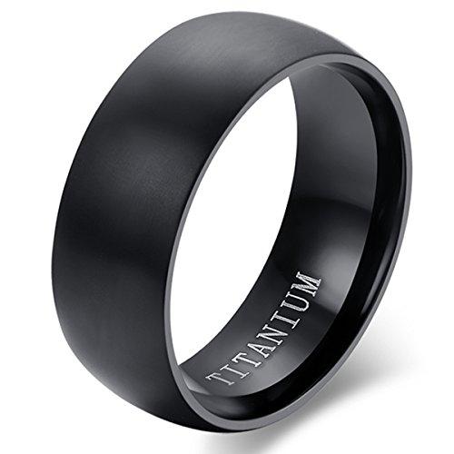 Flongo Anillo de compromiso, Anillo negro titanio, Vintage clásico anillos de hombre, Anillo de boda pedida, Buen regalo para su amor, Talla 11.5