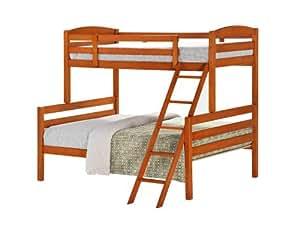 Happy Beds Bunk Bed Cretan Triple Sleeper Cherry Finish Hardwood With 2x Luxury Spring Mattresses 3' Single 90 x 190 cm 4'6'' Double 135 x 190 cm