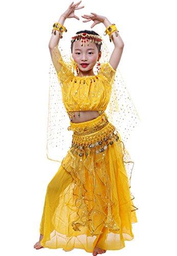 Astage Niña Traje Danza del Vientre Lentejuelas Danza India Halloween Disfraz Rosa Oscura XS