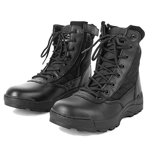 tärische High-Top-Schuhe Taktische Wanderschuhe Schnürschuhe Kampf All Terrain Stiefel Leder Stiefeletten Sicherheit Polizei Arbeitsschuhe,Black,37 ()