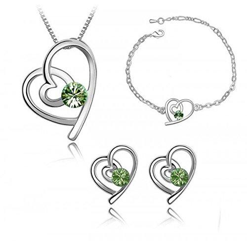 Parure coeur cristal swarovski elements blanc plaqué or blanc Vert