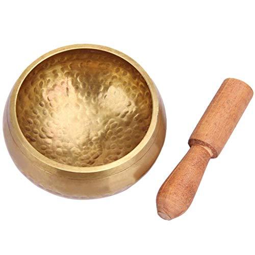 Buddha Tibet Klangschale Kupfer Buddhist stumm Mind Meditation Yoga Bowl buddhistisches Handwerk, nepalesischer handgefertigter Buddhismus (Color : Metallic, Größe : 14.5cm)