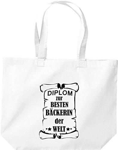 Shirtstown große Einkaufstasche, Diplom zur besten Bäckerin der Welt, Weiß