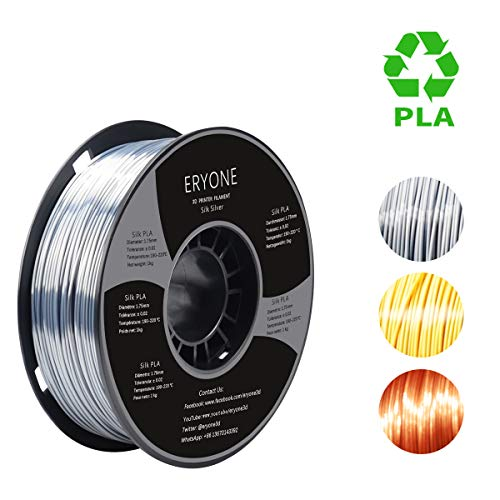 PLA Filament 1.75mm Silk Silver, ERYONE Silky Shiny Filament PLA 1.75mm, 3D Printing Filament PLA for 3D Printer and 3D Pen, 1kg 1 Spool