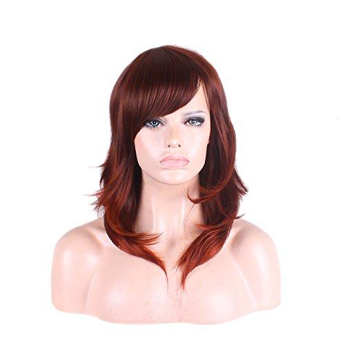 Rotbraunes Gewelltes Haar Synthetische Perücken Medium 50 cm Lange Lockige Frisur Dame Cosplay Amerikanischer Afrikanischer Charme Hitzebeständigkeit Party Anime ()