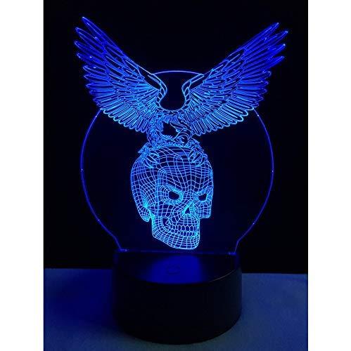 Preisvergleich Produktbild ZBHW Eagle Skull Shaped 3D Lampenlicht LED USB Stimmung Nachtlicht Multicolor Touch oder Remote Luminaria Change Tischlampe