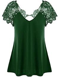 4b347974d0f8b MRULIC Summer Autumn Elegant Ladies Womens Fashion V-Neck Plus Size Lace  Short Sleeve Trim Cutwork T…