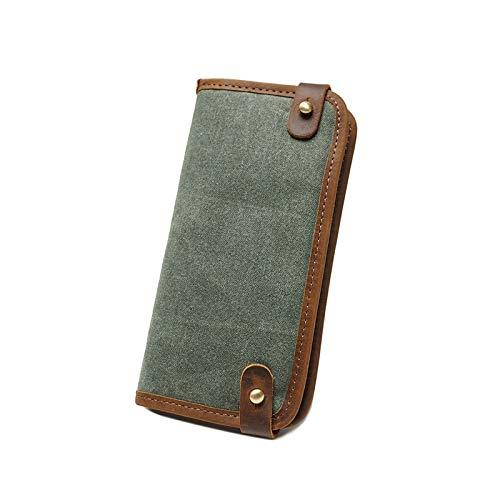 Happyplus1 Herren Vintage Mini GeldböRSE, Dünne Lange Brieftasche für Männer, Casual Retro Travel 6 Slots Kreditkarteninhaber Dünne Münze Geldbörse Geschenk (Farbe : Coral Blue)
