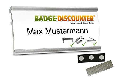 5 Aluminium Namensschilder magnetisch für Kleidung zum Anstecken Komplettset NMSG Silber Alu Namensschild beschriften 3er Magnet Clip Nadel Papier Drucketiketten A4 Magnetnamensschild bedrucken 72x32