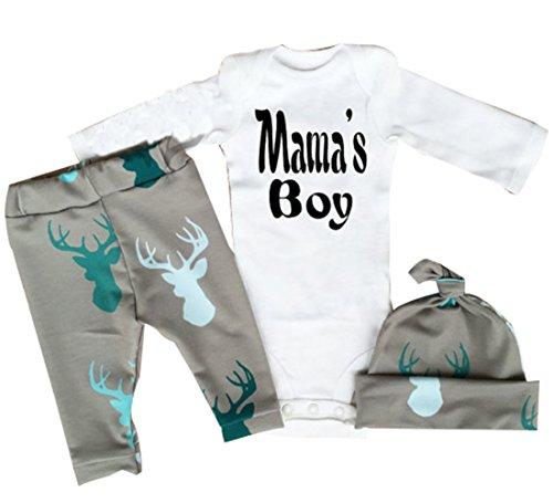 Neugeborenes Baby-Mädchen Junge Spielanzug tops Hirsch Hose Hut Outfit Set Kleidung (3-6 Monate, Grau) (X Kleidung 3)