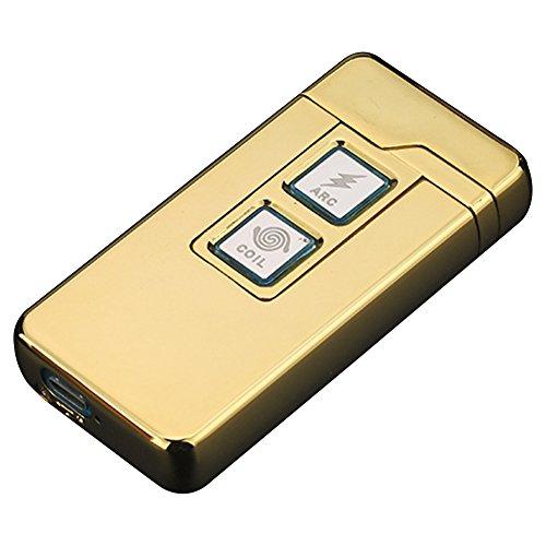 Qimaoo 2 in 1 Plasma Arc Feuerzeug und Coil Feuerzeug,Aufladbare Winddichte USB Zigarettenanz&uumlnder Ber&uumlhrungssteuerung Gold