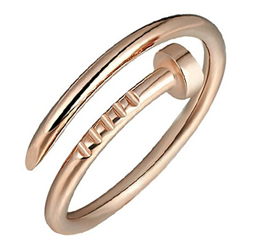 Boowhol Damen Mode Ringe 925 Sterling Silber Einfach Nagel Verstellbar Ringe Paar-Ring (rose gold) (Ring Nagel)