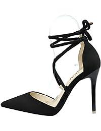 Escarpins en Daim Sangles Bout Pointu Chunky High Heels Femmes Fashion 42.5 Rose VIKeMFMLz