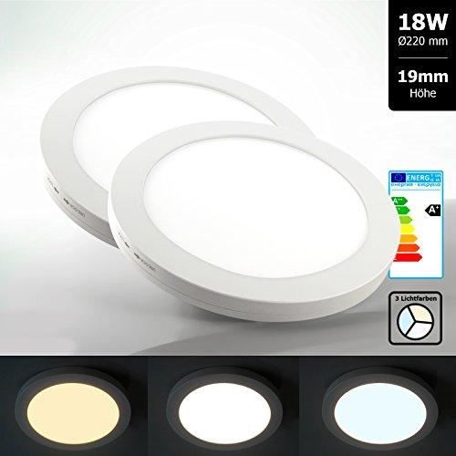 2x Xtend Mini Aufputz LED Panel rund 22cm Lichtfarbe umschaltbar 3CCT warmweiß neutralweiß tageslicht 18W nur 1,9cm hoch Integriertes Netzteil Inkl. Montagematerial als Deckenleute oder Wandleuchte verwendbar