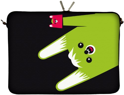 DIGITTRADE LS162-13 Toothy Designer Netbook Hülle 13.3 Zoll (33.8 cm) aus Neopren Tablet Tasche 13 Zoll & Ultrabook Case 14 Zoll Sleeve schwarz grün pink (Netbook-neopren-sleeve)