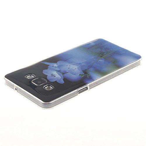 Samsung Galaxy A3(2015) hülle MCHSHOP Ultra Slim Skin Gel TPU hülle weiche Silicone Silikon Schutzhülle Case für Samsung Galaxy A3 - 1 Kostenlose Stylus (Lovely Panda) Blue Flowers