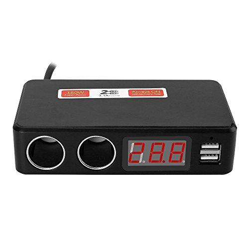 Leaning Tech LTC 180W Multi Funzione di caricabatteria da auto Dual USB Port 3.1a + 2X accendisigari + LCD voltmetro 12V/24V NERO