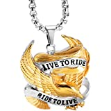 Men's Stainless Steel Live To Ride Ride To Live Eagle Biker Pendant Necklace With Chain (Gold And Silver)