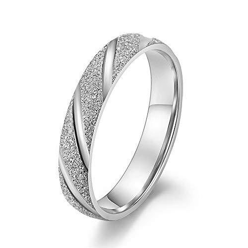 Herrenmode Ring Frauen Radiant Edelstahl Sandstrahl Finish Rose Gold Ring Engagement Hochzeit Sand Blast Band für Männer Frauen Komfort-Band-Ring für Männer (Farbe : Chrome, Größe : 8) -