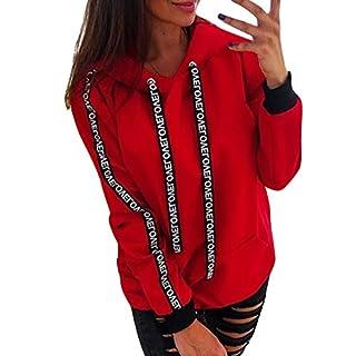 BaZhaHei Ladies Ribbon Solid Color Loose Hoodie Long Sleeve Sweatshirt Hooded Pullover Tops Plus Size Women Tops Shirt Red