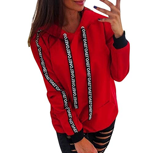 Price comparison product image BaZhaHei Ladies Ribbon Solid Color Loose Hoodie Long Sleeve Sweatshirt Hooded Pullover Tops Plus Size Women Tops Shirt Red