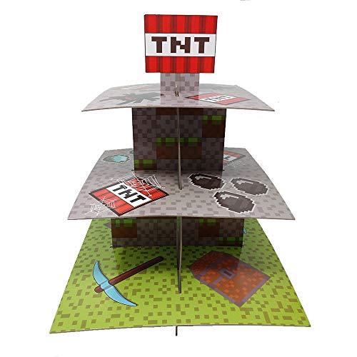 Mining Fun TNT Cupcake-Ständer & Pick-Set, Pixel-Dekorationen, Minecraft-inspirierte Partys, Geburtstage, Partyzubehör, Kuchendekorationen, 3-stöckige Cupcake-Ständer