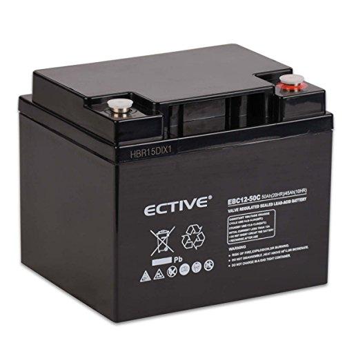 ECTIVE Bleiakku 12V 50Ah Zyklenfeste AGM Batterie Blei Akku EBC-Serie 13 Varianten: 25Ah - 280Ah (wartungsfrei)