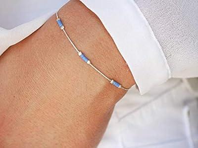Bracelet minimaliste argent 925 - chaine serpent argent - bracelet ultra fin - perles miyuki bleu - bijoux été coloré bleu - superposable