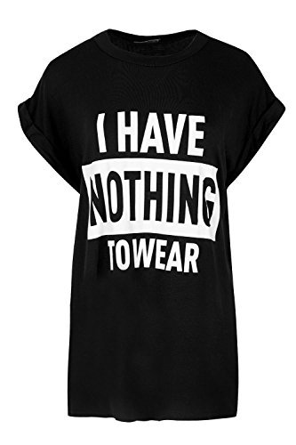 OOPS OUTLET Damen Aufgerollter Ärmel T-Shirt Damen ICH HABE NOTHING ZU TRAGEN Aufdruck Neuheit Oberteil - Schwarz, Plus Size (UK (Tragen Size Plus)