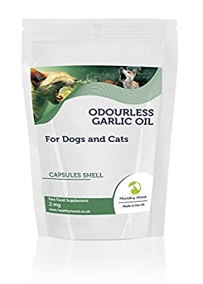 Odourless Garlic Oil 2mg for Dogs and Cats Pets Food Supplement 30 Capsules Reduced levels of anti-social garlic breath Nutrition Supplements HEALTHY MOOD UK Quality Nutrients by Healthy Mood