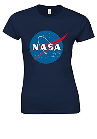 Nasa National Space Administration Logo Navy Women T Shirt Top-M