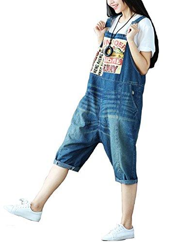 Aeneontrue Damen Hosentrager Spielanzug Harem Breites Bein Jumpsuit Hosen Capri Latzhosen Jeans mit Taschen Art2 Brau