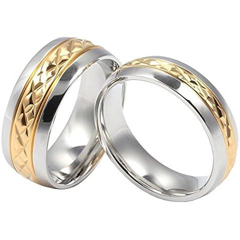 Uomo Donna Matrimonio Banda Acciaio Inossidabile Coppie D'Oro Promessa Matrimonio A 12 Di AieniD