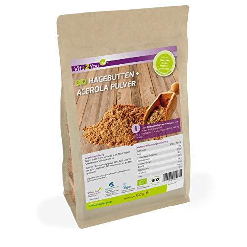 Bio Hagebuttenpulver + Acerola Pulver 100g - 100% Ökologischen Anbau - Hoher Gehalt an Vitamin C - Premium Qualität