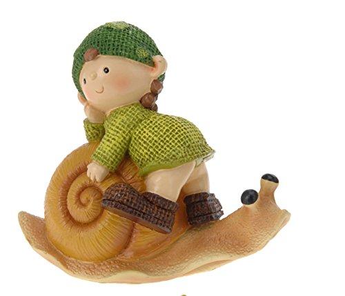 dekorative Gartenfigur Kunstharz 14 cm - Figur auf Schnecke