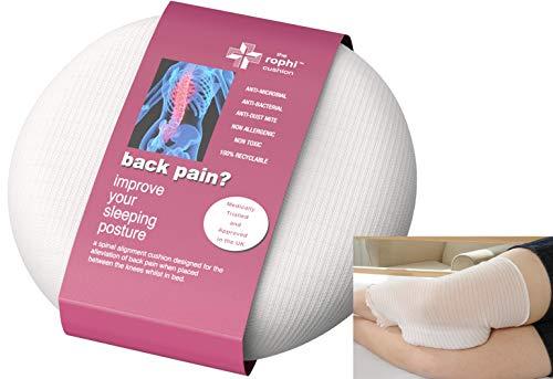 Cojín para rodillas de dormir lateral patentado (patente 2433103), probado por UCLAN y probado para reducir el dolor de espalda, alivio de la ciática de las piernas y ayuda a un disco deslizante.