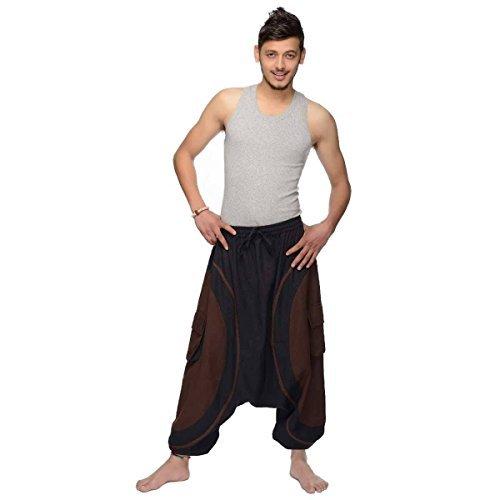 Haremshose Pumphose Aladinhose Pluderhose Yoga Goa Sarouel Baggy Aladin Freizeithose Soni Herren (Braun, S/M) (Gesmokt Taille Der Hose In)