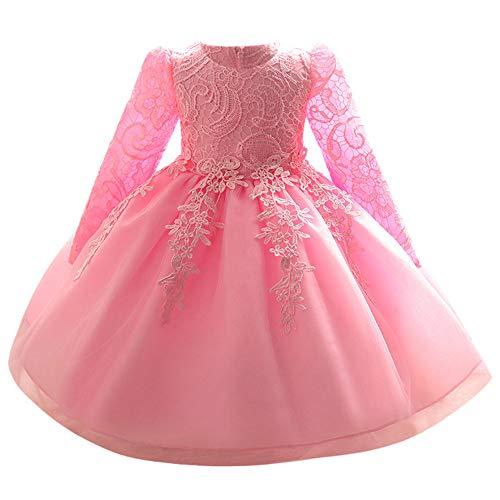 Riou Weihnachtskleid Mädchen Prinzessin Spitzenkleid Lang Weihnachten Kinder Baby Leistung Formal Tutu Mini Ballkleider Abendkleid Elegant für Hochzeit Party Geburtstag Outfits Kleidung (90, Rosa B)