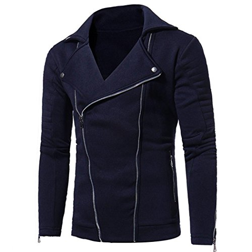 Herren Sweatjack,Dasongff Männer Slim Fit Langarm Entwickelt Revers Strickjacke Sweatshirt Tops Jacke Mantel (XL, Navy) (- Reißverschluss-leder-jacke-mantel)