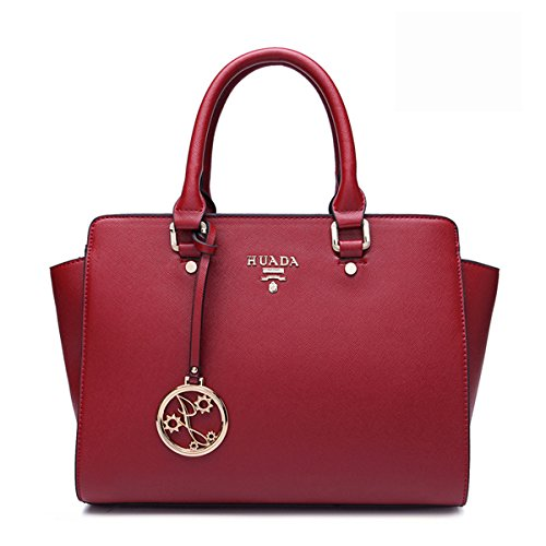 yacn Damen Designer Echtes Leder Top Griff Handtaschen Umhängetasche Tote für Frauen mit Umhängeriemen rot