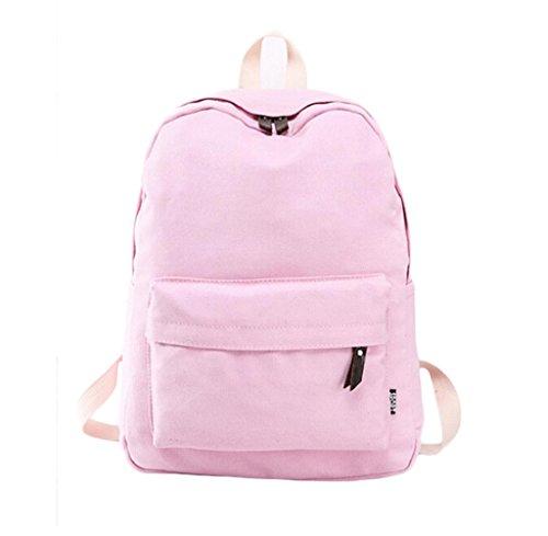 Rcool Mode Frauen Mädchen bunte Leinwand School Bag Reise Rucksack (Rosa) (Umhängetasche Double Top Reißverschluss)