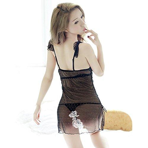 lpkone-Tentation lingerie sexy sous-vêtements sexy femme mince transparente dentelle chemise robe harnais maillé accueil Taille Libre,Black Black