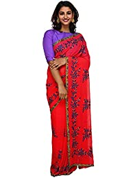 Unnati Silks Women Pink Embroidered Pure Georgette Saree With Blouse from the Weavers of Punjab(UNM26167)